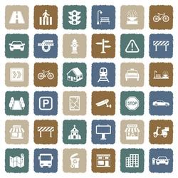 Street Icons. Grunge Color Flat Design. Vector Illustration.