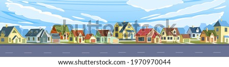 Street in a cheerful cartoon flat style. Asphalt road. A village or a small rural town. Small houses. Ski and clouds. Small cozy suburban cottages with gable roofs. Vector.