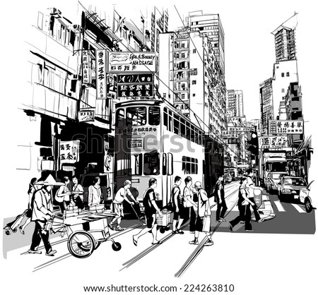 street in hong kong   vector