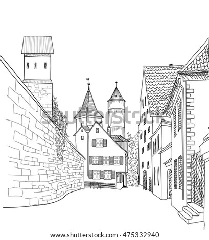 street in old city cityscape