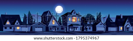 Street in suburb district with residential houses at night. Vector cartoon landscape with suburban cottages, moon and stars in dark sky. City neighborhood with real estate property Foto stock ©