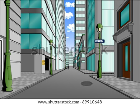 Street in the city center, summer day full of sunshine (vector)
