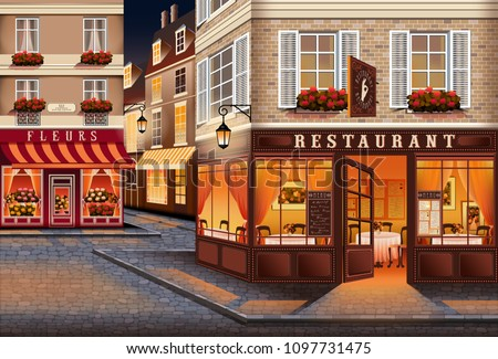 Street in the old town of Paris in the style of the early 20th century. Handmade drawing vector illustration. All items - easily scalable separate objects.