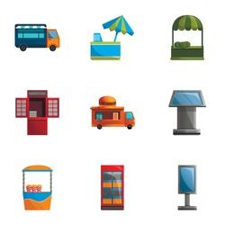 Street kiosk icon set. Cartoon set of 9 street kiosk vector icons for web design isolated on white background