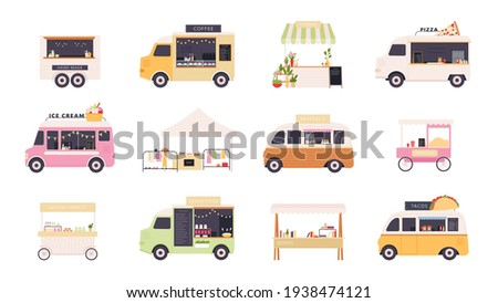 Street kiosks. Fast food trucks, tents and popcorn cart for outdoor summer fair. Festival market stall with flowers and clothes vector set