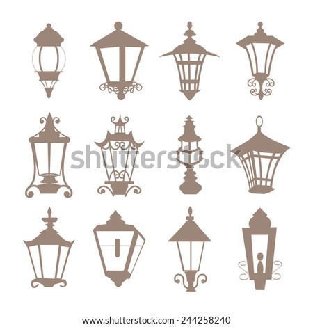 street lamp vintage city set