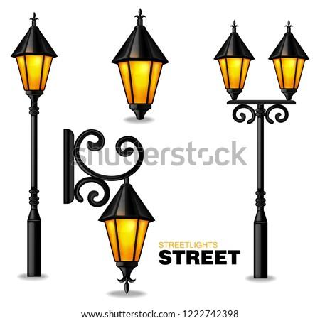 street lamps 3d vector realisic