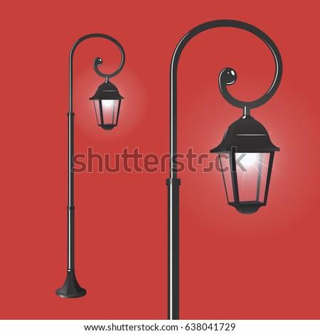 street lantern on red