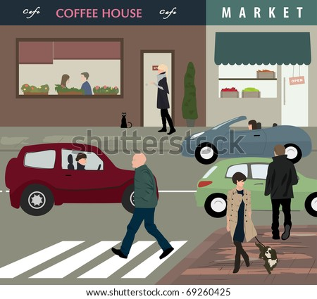 Street life - Urban scene with cars and people