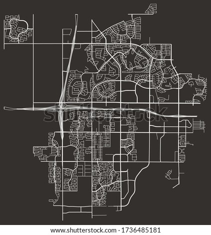 Street map of Goodyear, Arizona, USA, city footprint plan with major and minor roads, lanes, highways, downtown and suburbs
