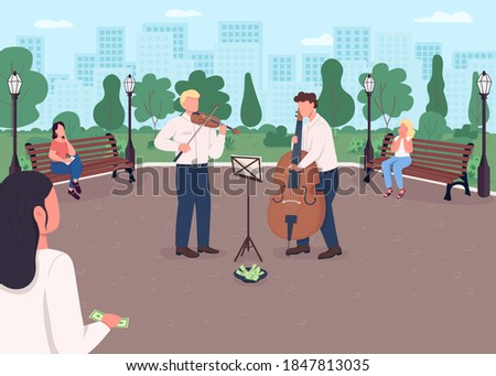 Street music band flat color vector illustration. Violin and cello players earn money. Musical instrument concert outdoor. Classical musicians 2D cartoon characters with urban park on background Photo stock ©