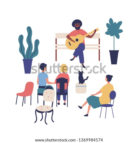 Street musician or guitarist sits on bench and plays guitar at park, people listen to music. Performer and audience or spectators at summer outdoor art festival. Flat cartoon vector illustration.