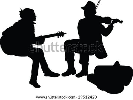street musicians silhouette - vector