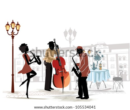 Street musicians with a saxophone and contrabass on the background of a street cafe