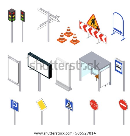 Street Objects Set Isometric View. Outdoor Object in City, Urban Design Elements. Vector illustration
