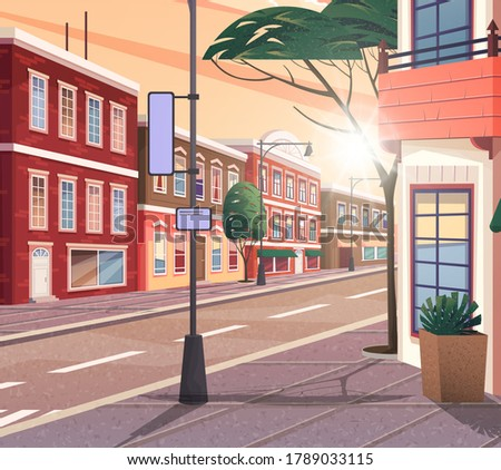 Street of town vector cartoon illustration of the historic urban area with trees and streetlight. Cityscape with vintage brick building, narrow road and pedestrian walkway view from the corner Foto stock ©