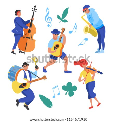 Street performance. Street musician. The set of characters of street musicians. Man band, a girl playing the violin, a guy saxophonist, guitarist, a man playing the double bass. Vector illustration. Сток-фото ©