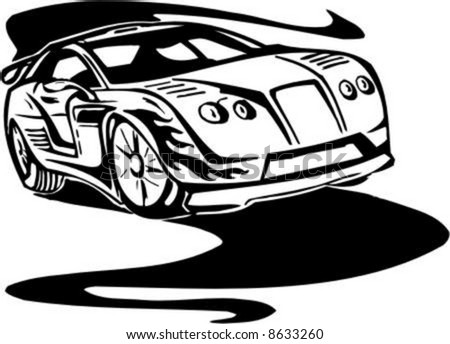 Auto Street Racing Cars on Stock Vector   Street Racing Cars   Series Vector Images  Ready To Cut