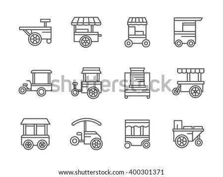 Street retail and wheel market. Trade cart. Food kiosk and trolley. Collection of black line style vector icons