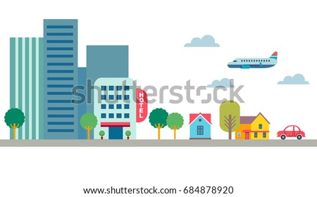 street road flat style vector elements