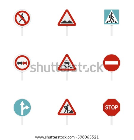 Street road sign icons set. Flat illustration of 9 street road sign vector icons isolated on white background