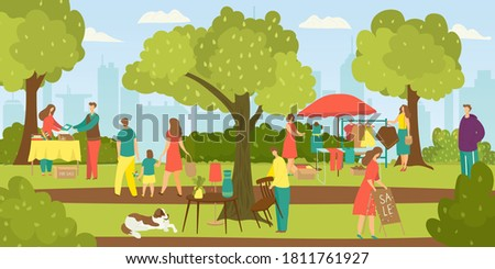 Street shops flee market, people selling cloths and shopping at walking street vector illustration. Second hand cloths, books and vintage things. Marketplace with people and garage sale. Stockfoto ©