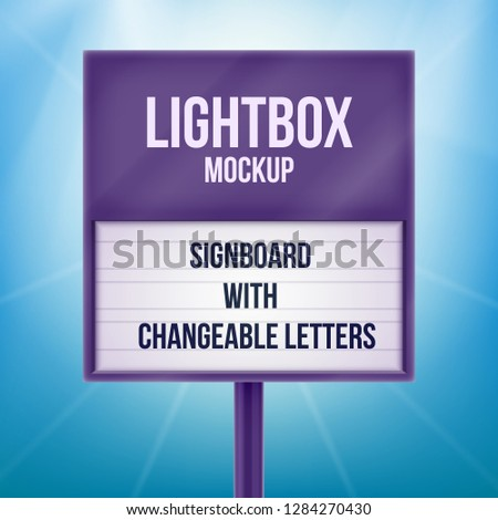 Street sign board with lightbox and changeable letters. Retro banner for your projects or advertising. Light banner, vintage billboard or bright signboard. Cinema or theater light box frame for ads.
