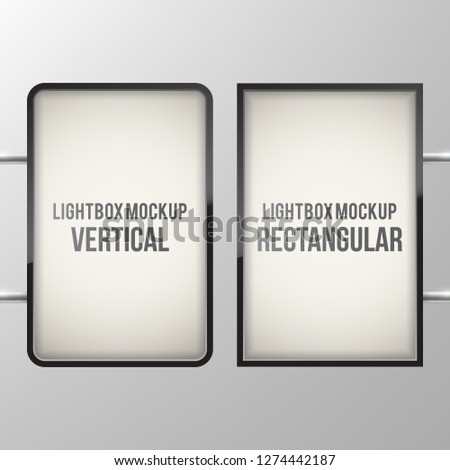 Street sign hanging mounted on the wall. Illuminated lightbox with empty space for design. Restaurant, hotel, night club logo presentation. Cinema or theater light box frame for ads.