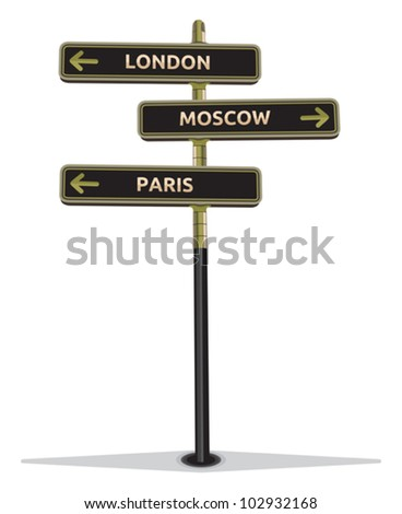 street sign showing cities - Paris Moscow London