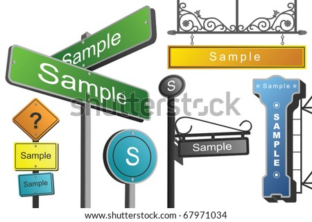street signs vector - vector collection of street signs and markers
