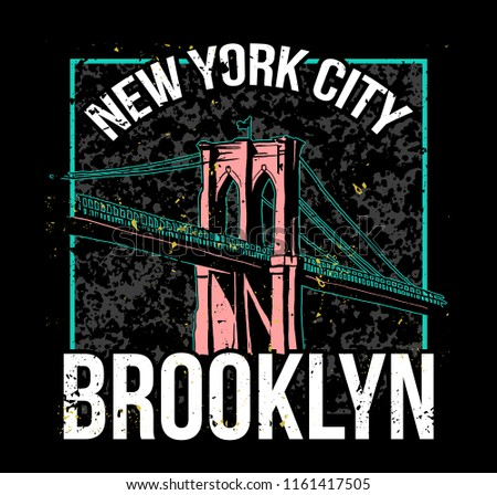 Street style colorful print with Brooklyn bridge from New York city . For fashion design print on clothes t shirt bomber sweatshirt also for sticker poster patch. Underground style.