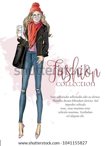 Street style fashion woman with morning cup of coffee, fashion collection advertisement, sale shopping banner, model sketch, hand drawn vector illustration art