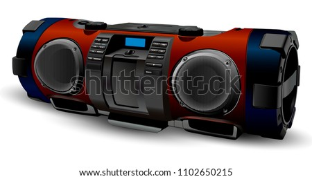 Street style portable hifi Stereo system recorder. Modern realistic Boombox mockup in silver and grey colours. Hip hop, Rap, Rock, pop culture. Vector illustration isolated on white background.