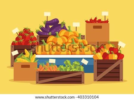 Street vegetables market. Vector flat cartoon illustration