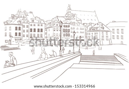Street view in the old city , Europe, Warsaw, Old town sketch , Vector illustration