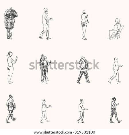 Urban Street Drawings Street Walking People Drawings