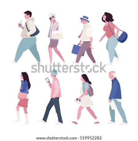 street walking people vector illustration flat design