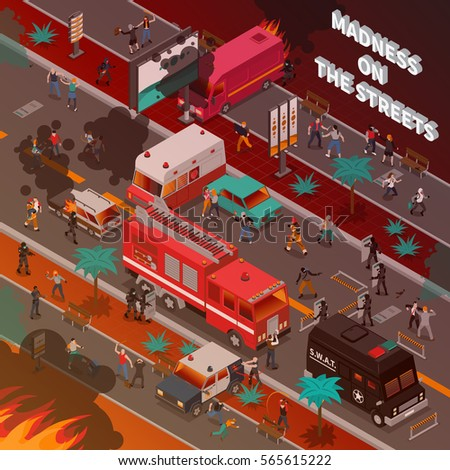 street war with burning cars