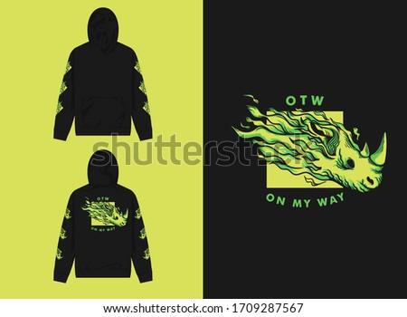 street wear retro hoodie on my