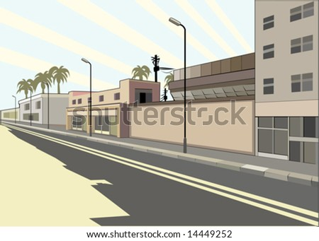 street with buildings, street lamps on background solar sky