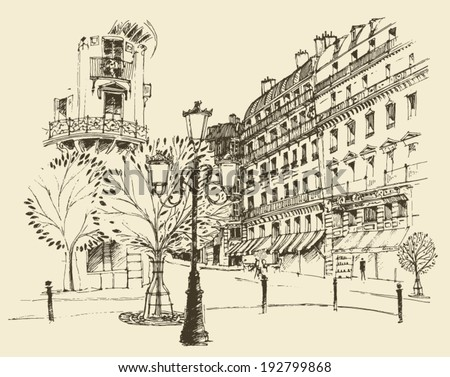 streets in Paris, France, vintage engraved illustration, hand drawn