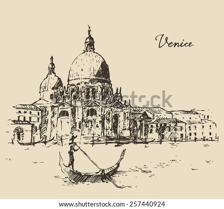 streets in venice  italy  with...