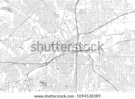 Streets of Fort Worth, city map, Texas. Roads and urban area. United States of America