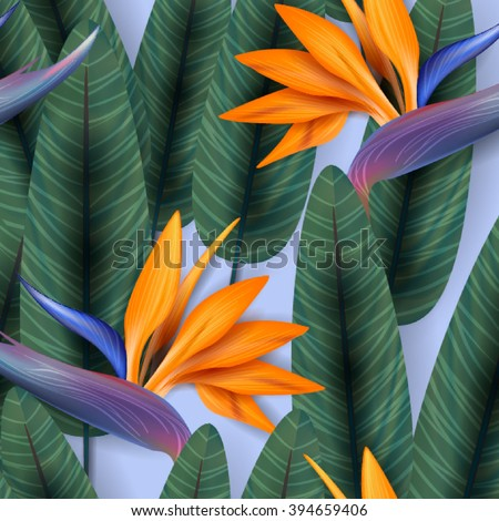 Strelitzia pattern. Tropical flower, blossom cluster seamless pattern . Beautiful background with tropical flowers and palm leaves, plant and leaf. - Shutterstock ID 394659406