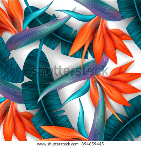 Strelitzia pattern. Tropical flower, blossom cluster seamless pattern . Beautiful background with tropical flowers and palm leaves, plant and leaf.