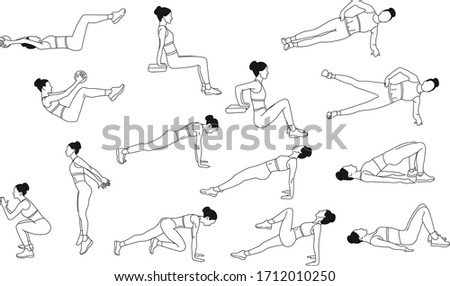 Strength exercises that can be performed at home: plank, squat, plank with a knee pull - up, squat with a jump, side plank, side plank with a leg lift, glute bridge