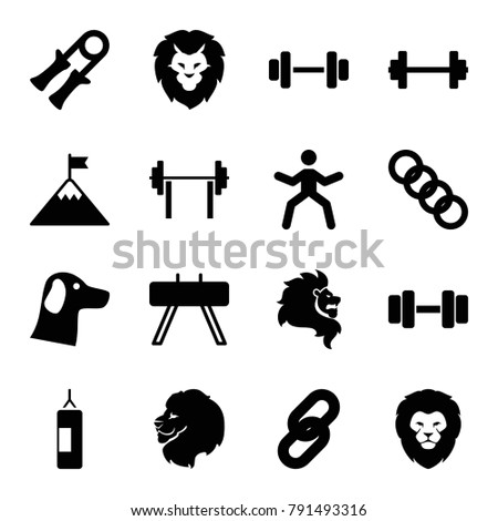 strength icons set of 16