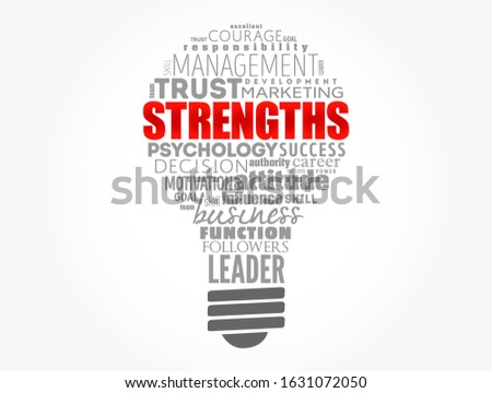 Strengths light bulb word cloud collage, business concept background
