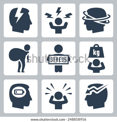 Stress and depression related vector icon set