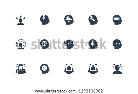 Stress and Depression Related Vector Icon Set. 48x48 Pixel Perfect